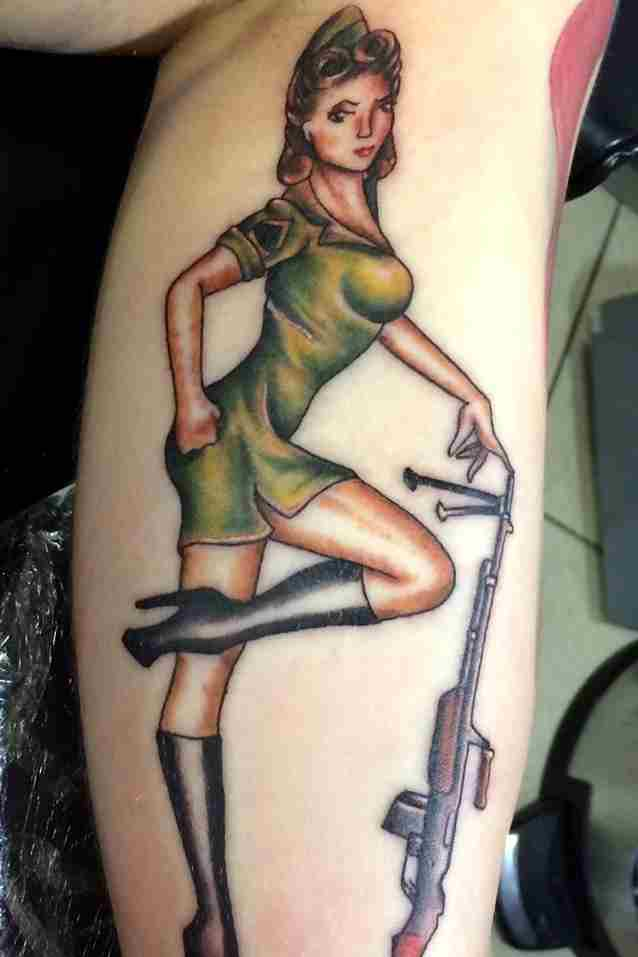 Army Pin Up Tattoo