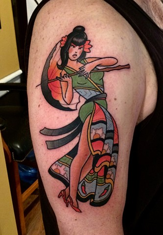 Japanese pin up girl tattoo