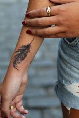feather wrist tattoo for women