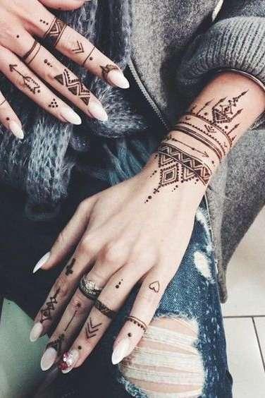 henna wrist tattoo for women