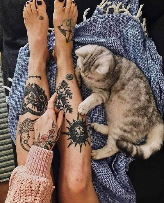 both leg tattoo for girls