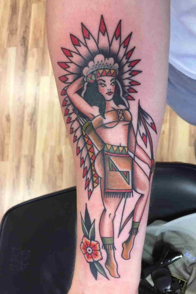 native american pin up tattoo