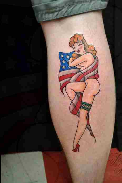 pin up girl tattoo American traditional