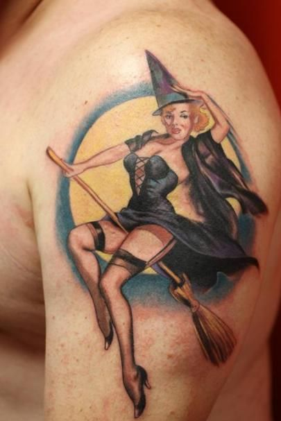 pin up witch tattoo