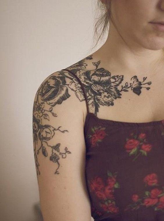 front shoulder tattoos flowers