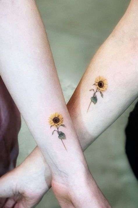 colorful sunflower wrist tattoo for girls