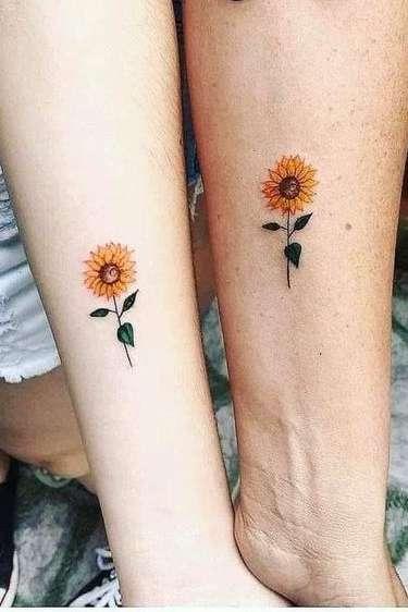 sunflower wrist tattoo for girls
