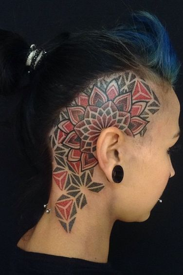 Colorful Head tattoos for women