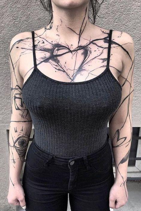 heart Chest Tattoos for women