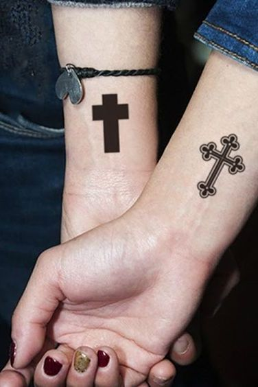 cross symbol tattoos for couples