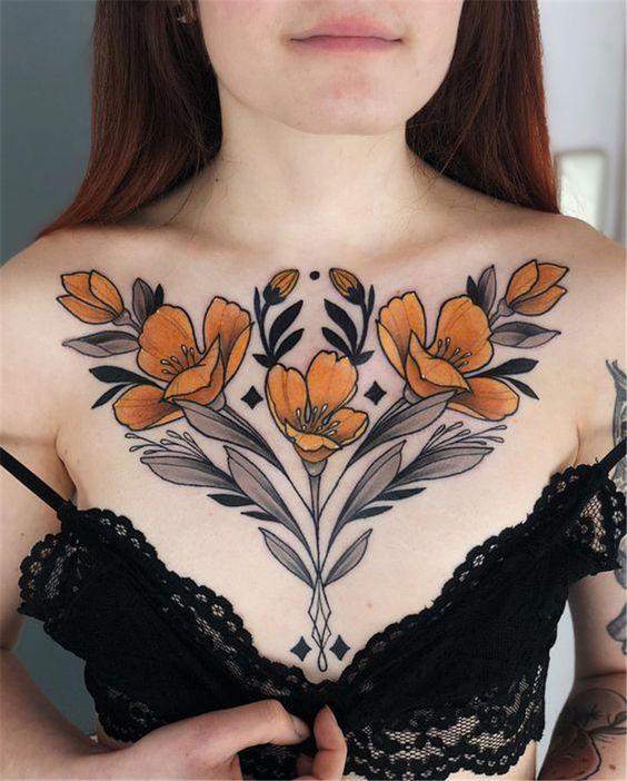 full follower Chest Tattoos for women