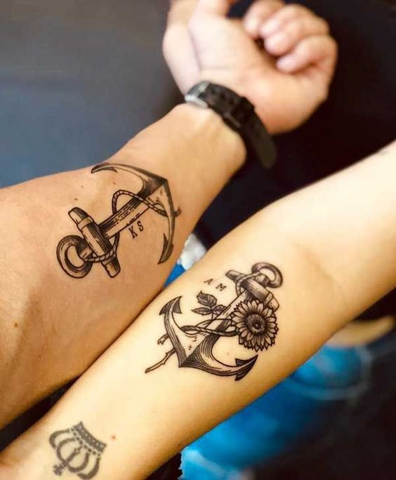 Anchor tattoo for couple
