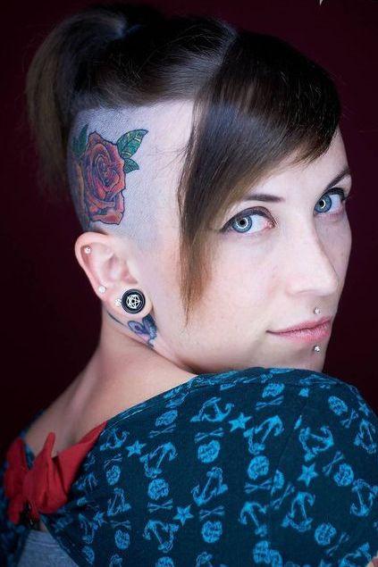rose head tattoo design