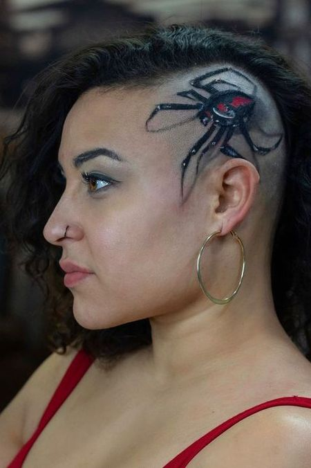 spider tattoo on head for women