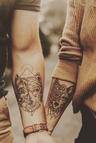wolf matching tattoos for couple