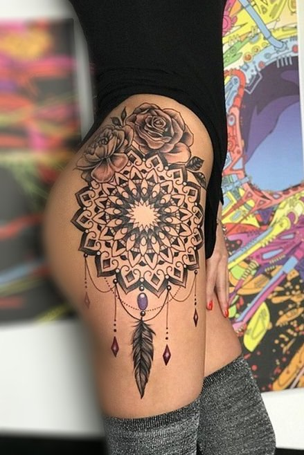 mandala thigh tattoos for women