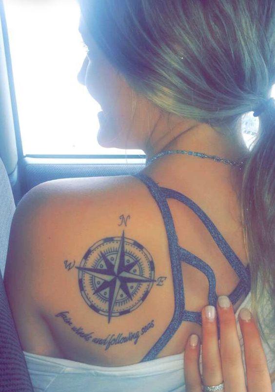 back shoulder compass tattoo