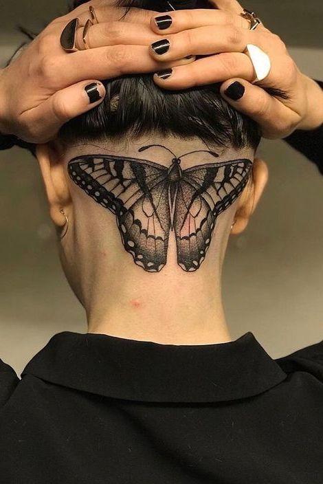 Butterfly tattoo head back
