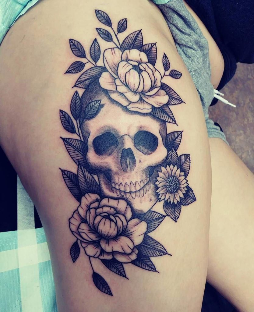 skull flower mixer tattoo