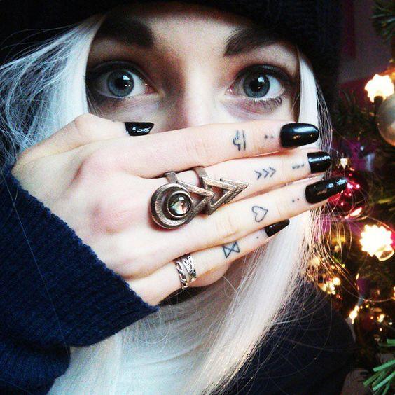 Small heart tattoo on finger for girls