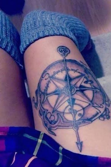 compass thigh tattoo