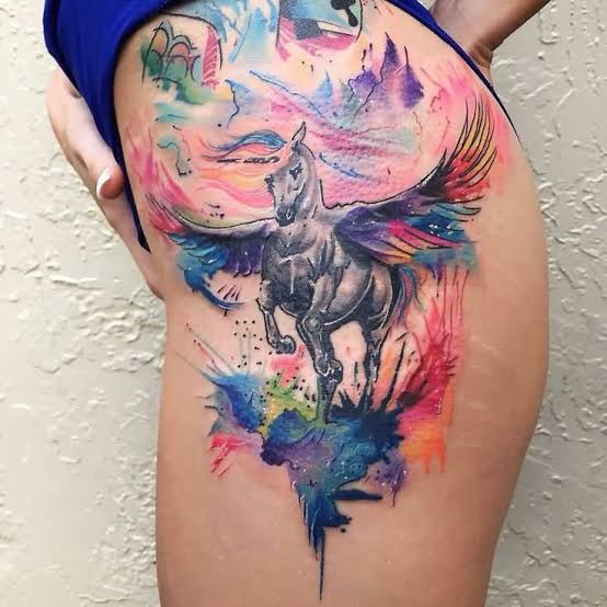 water color horse thigh tattoo