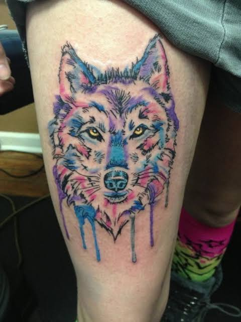 wolf thigh tattoo design