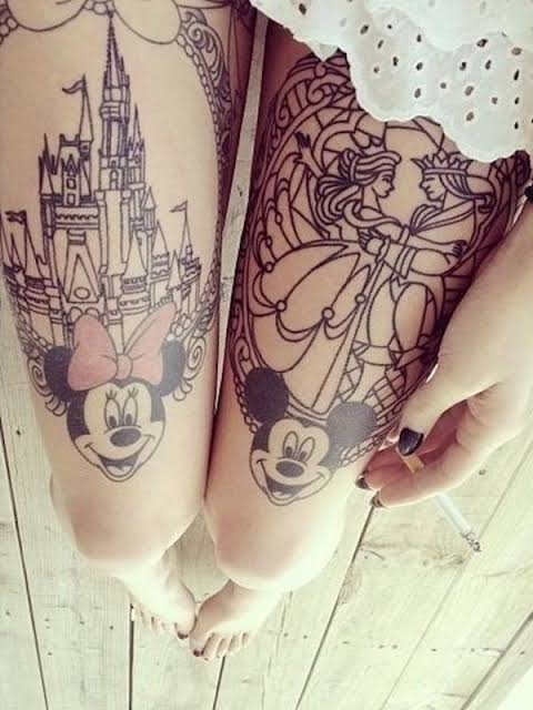 Disney thigh tattoo design