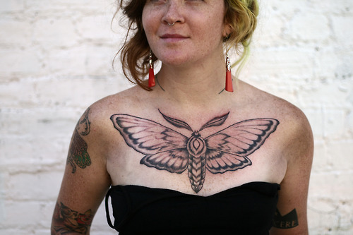 butterfly chest tattoos for girls