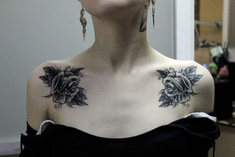 collar bone rose chest tattoos for women