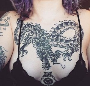 dragon chest tattoos for female