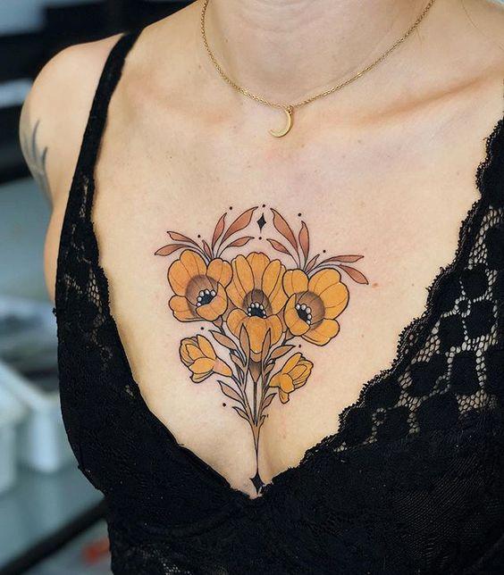 flower chest tattoos for female