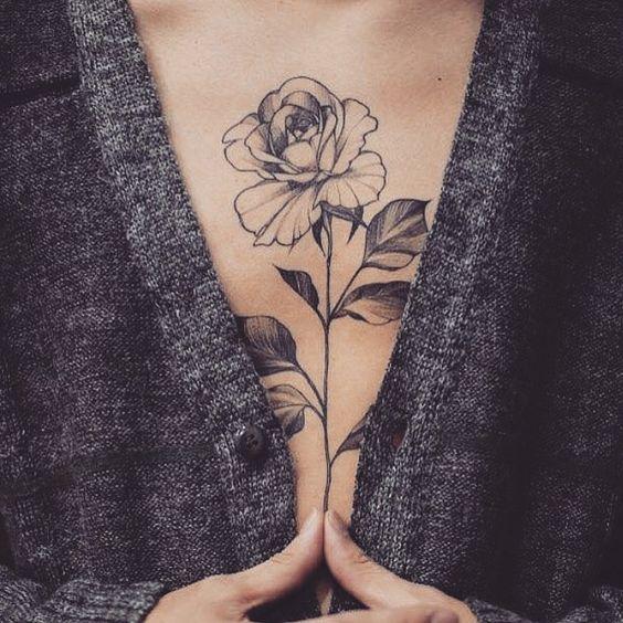flower chest tattoos for women