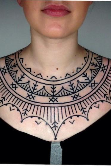 mandala chest tattoo female