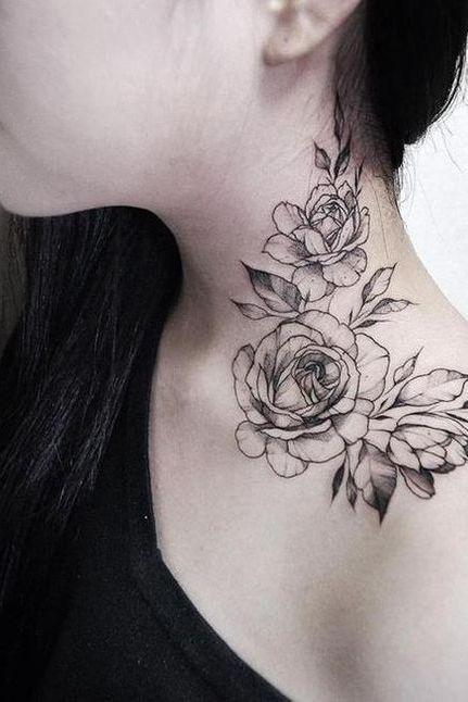 rose follower tattoo on neck