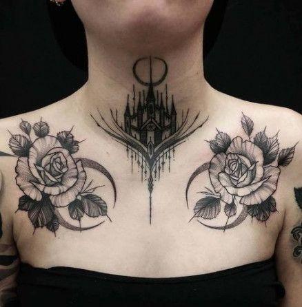 rose chest tattoo female
