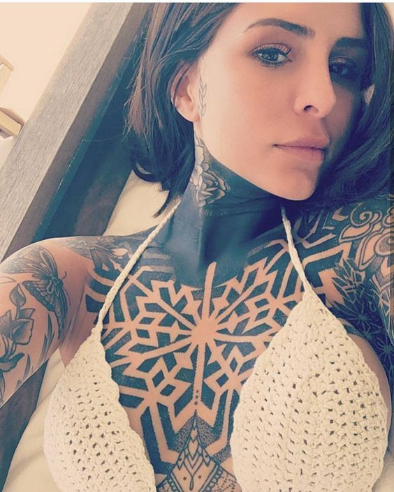tribal chest tattoos for females