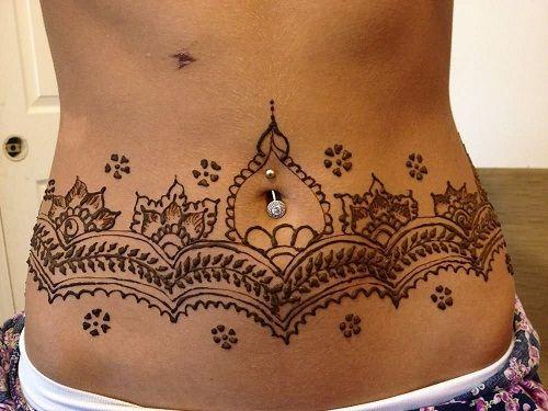 Henna Stomach Tattoo for Women