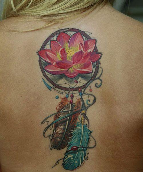 dream catcher + Flower tattoo on back