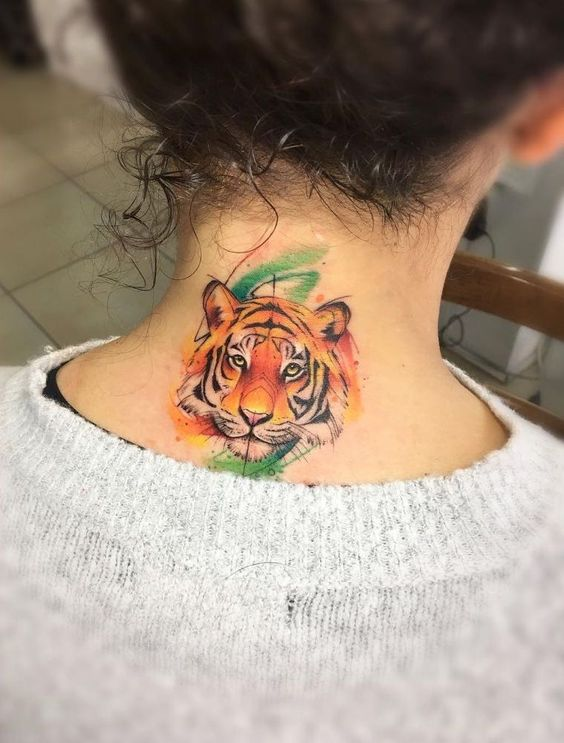 Tiger face Tattoo on Back Neck