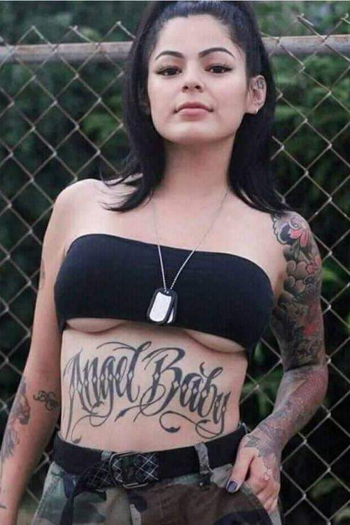 stomach word tattoo