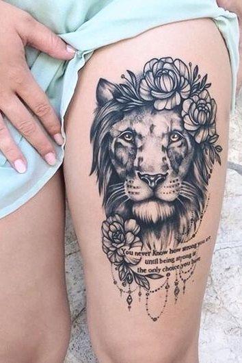 Thigh lion Tattoo