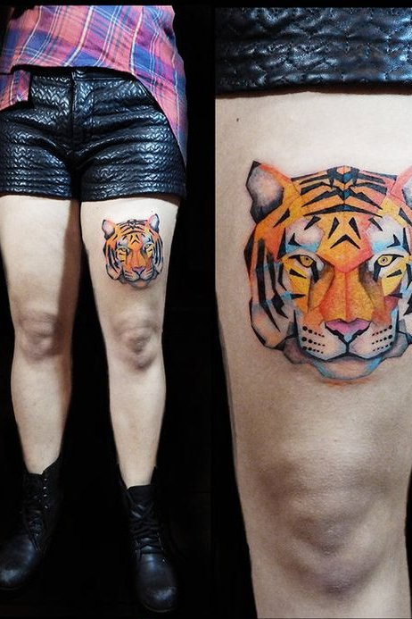 Geometric Tiger Face Tattoo on Thigh