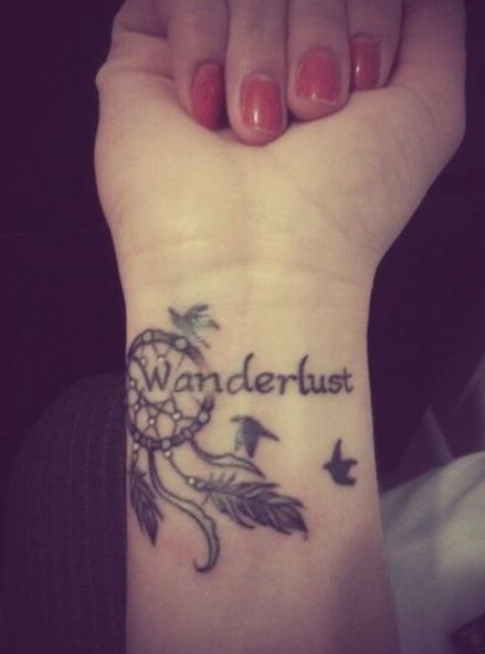 words + Dream catcher tattoo on wrist