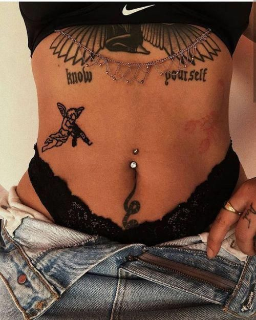 Mix Tattoo on stomach for girls