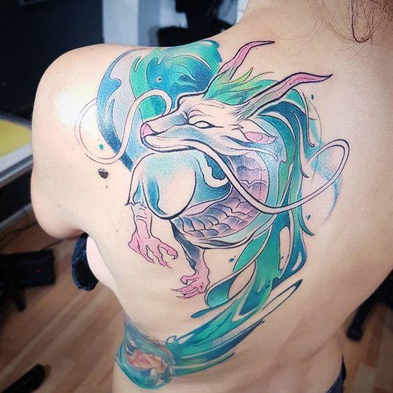 fantasy dragon tattoo on back