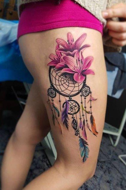 outer thigh dream catcher tattoo