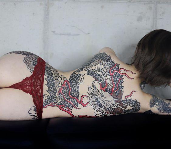 full back body dragon tattoo