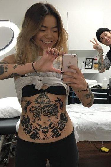 stomach tattoo women