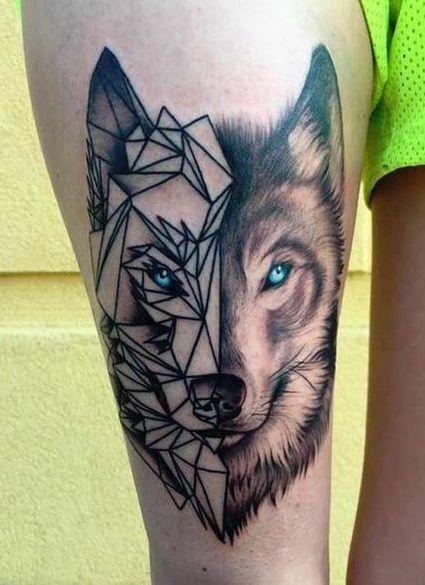 thigh wolf tattoos